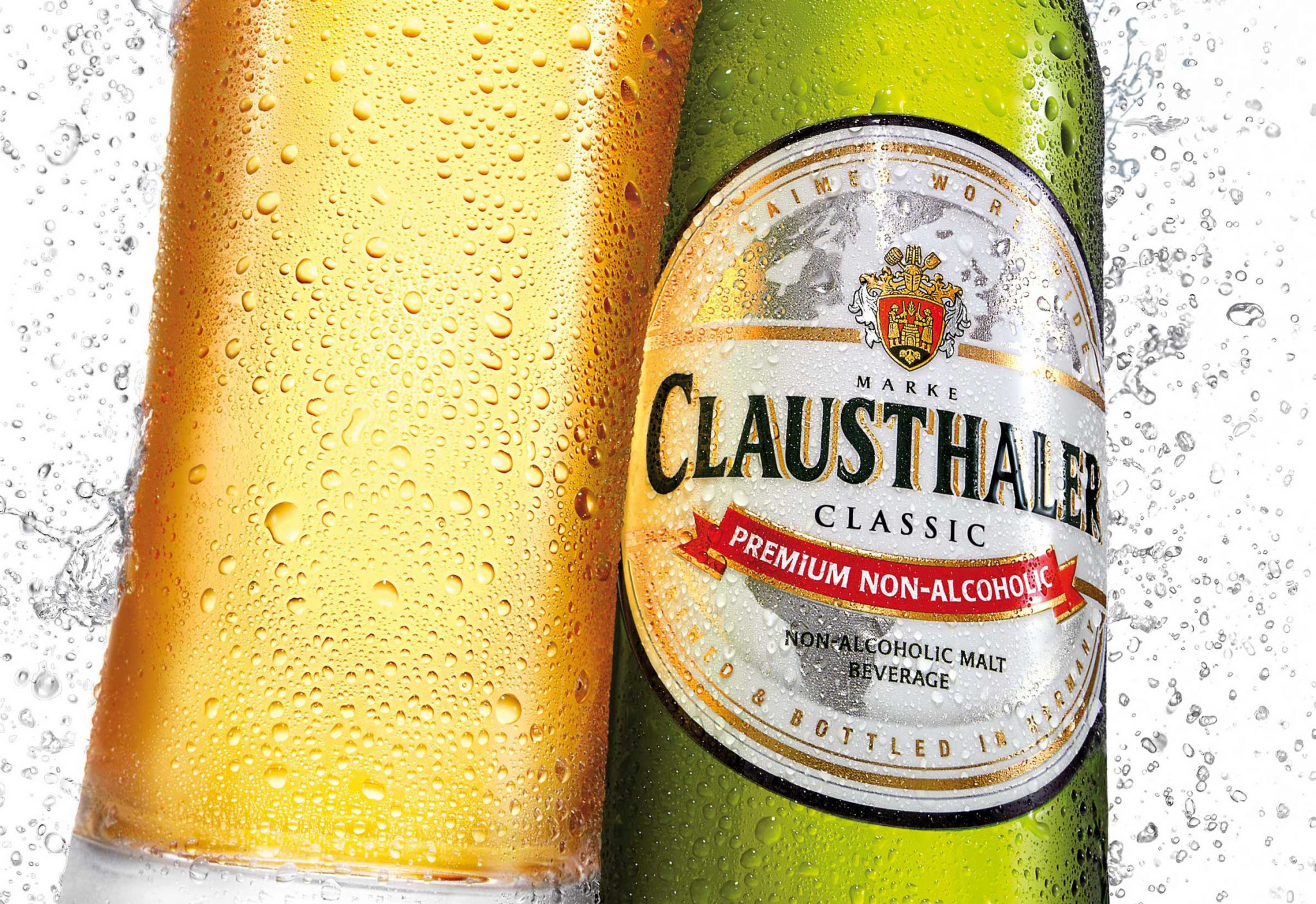 Clausthaler Branded Glass with Bottle